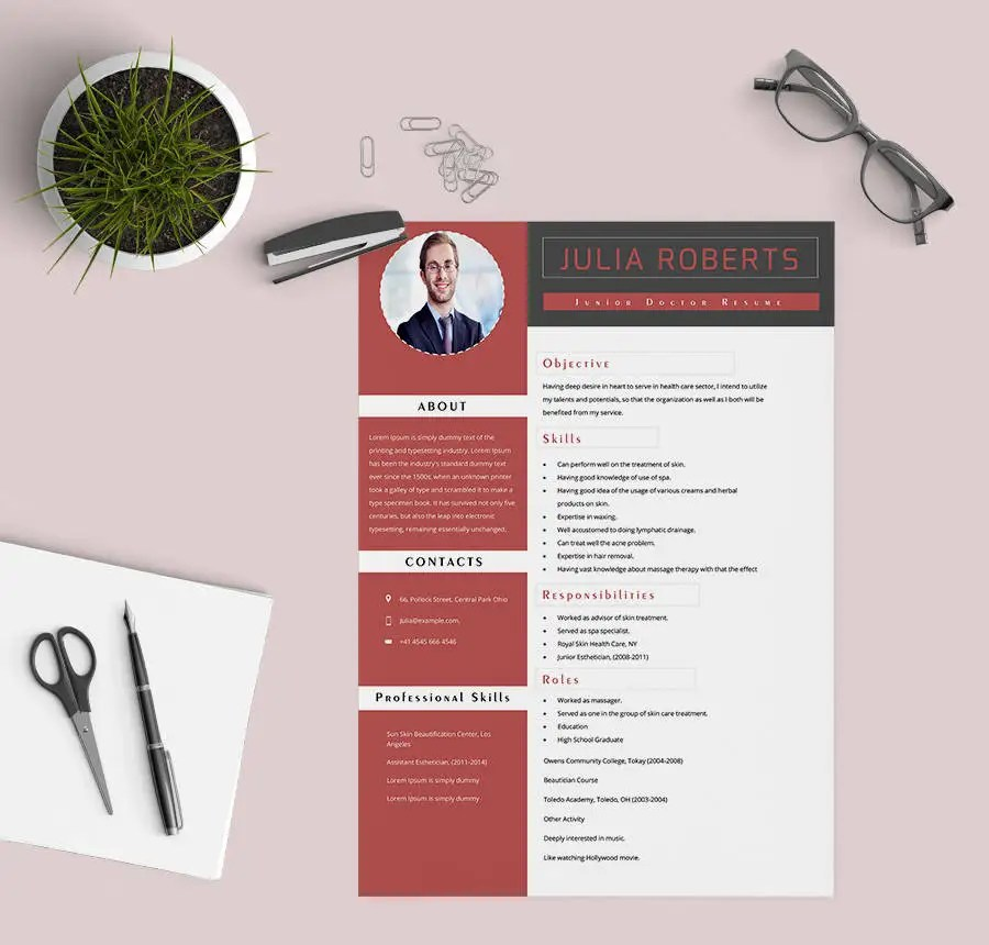 39  Free Resume Templates   PDF  DOC   Free   Premium Templates Junior Doctor Resume Template