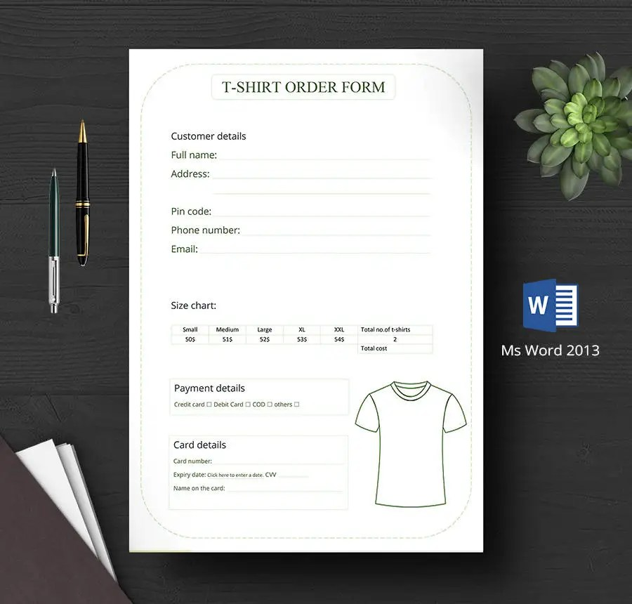 9 Free T Shirt Order Forms Henley Hooded Graphic Free Amp Premium Templates