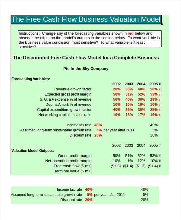 monthly cash flow projection