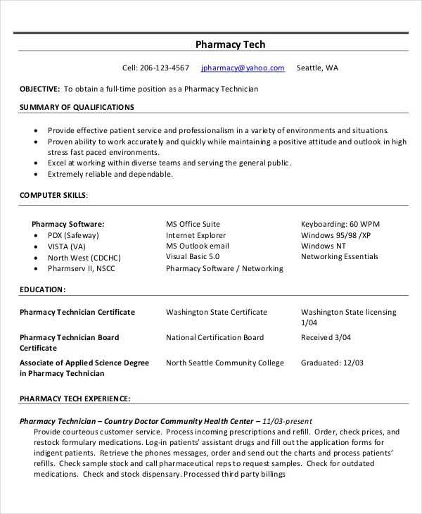 Hospital Pharmacist Resume Sample: Pharmacy Technician Resume Summary