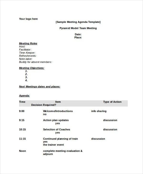 Use the lines at the top of the template to record vital information about the meeting, including its title and subject or objective. Word Agenda Template 6 Free Word Documents Download Free Premium Templates