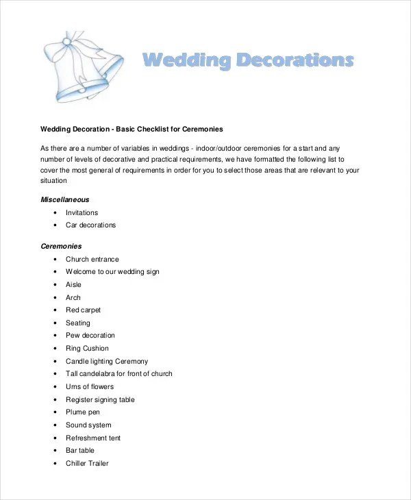 Wedding decoration checklist template pleasant wedding moments wedding decoration checklist template junglespirit Image collections