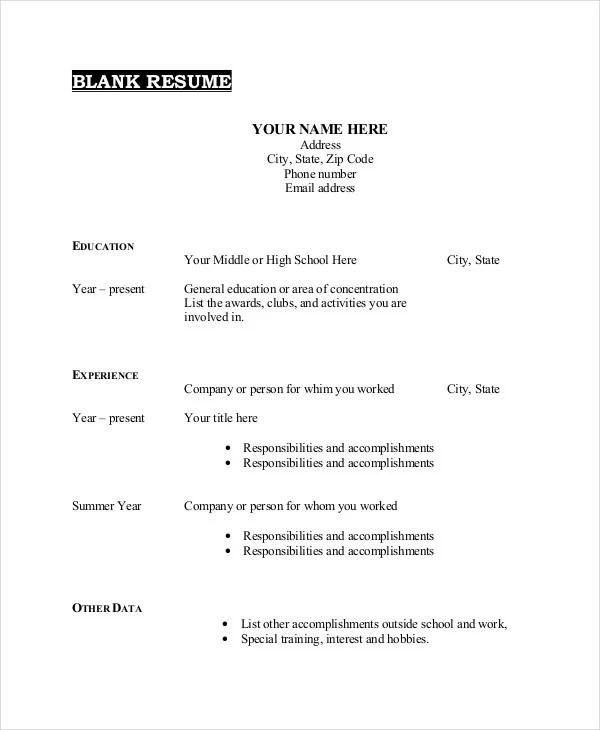 Blank Resume Template Sample Empty Format