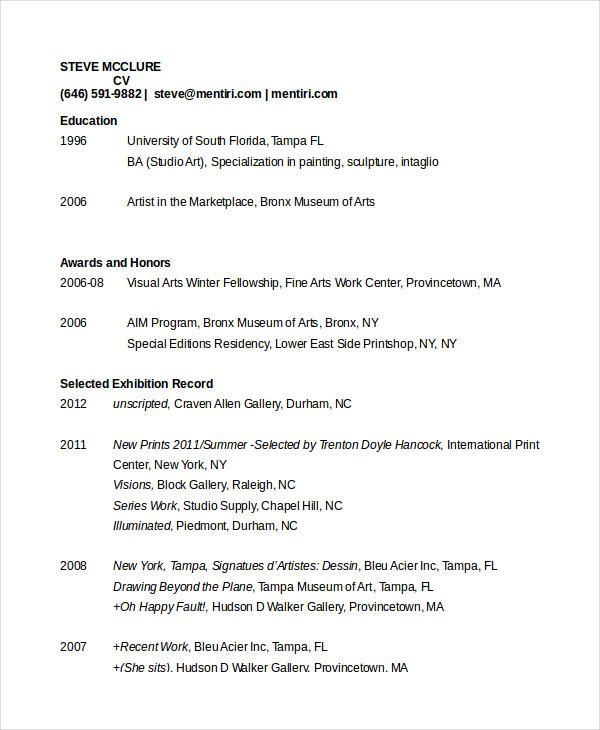 Cv Template Artist Cv Example Resume