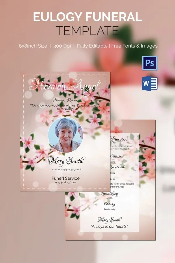 Funeral Program Template 16 Word PSD Document Download Free Amp Premium Templates