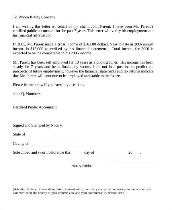 Employment Verification Letter 8