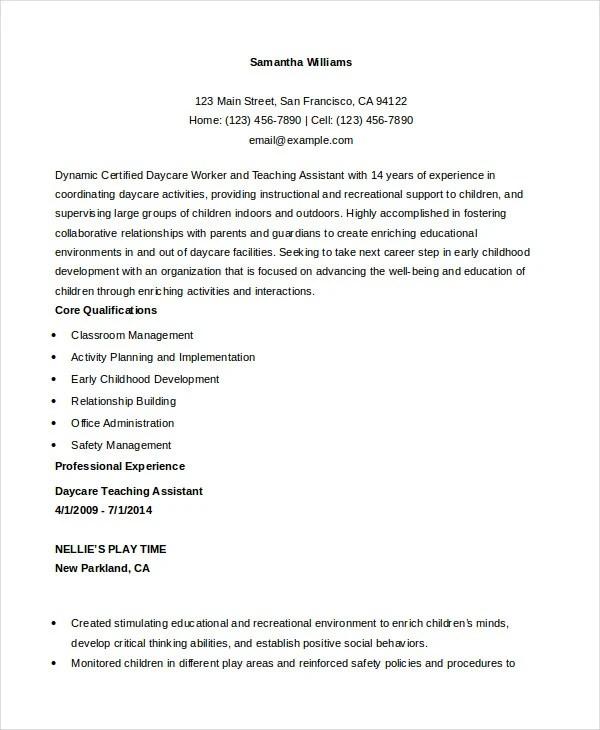daycare resume samples