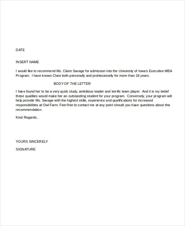 Letter Of Recommendation Format 15