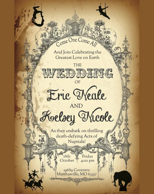 Circus Style Wedding Invitation