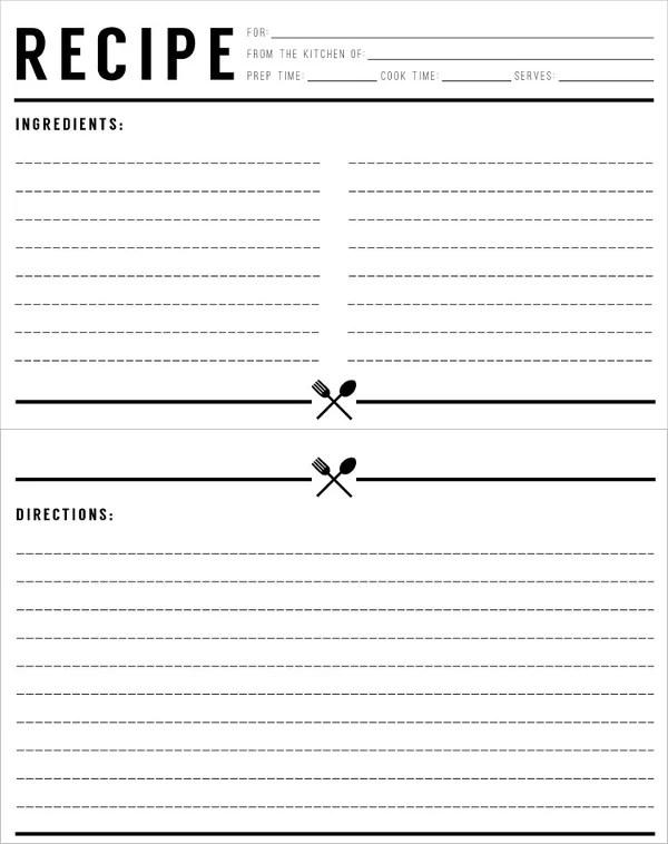 holiday recipe card templates