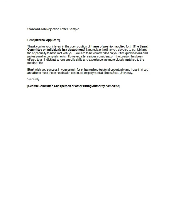 How To Write A Good Job Rejection Letter   Letter Template