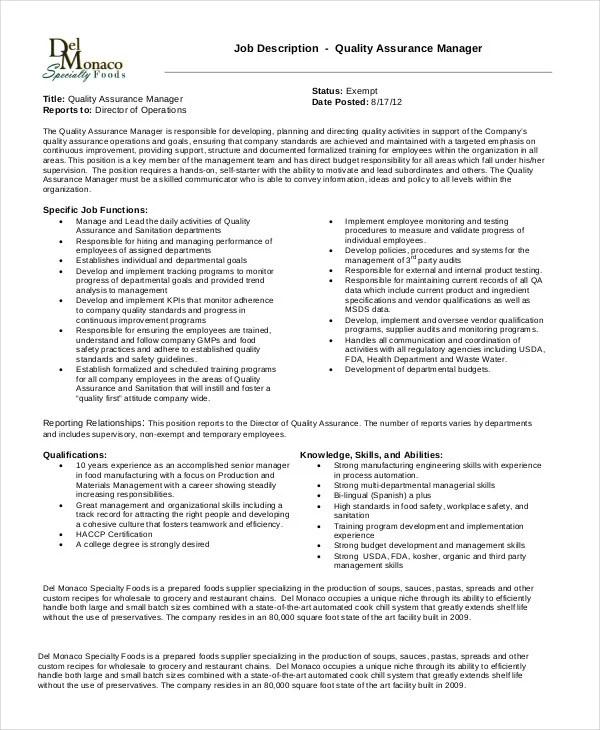 10+ Quality Assurance Job Description Templates - PDF, DOC ...