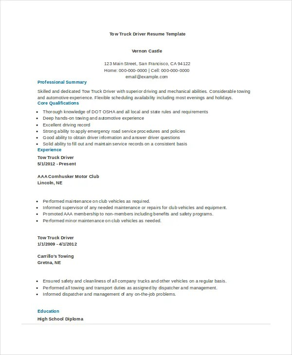 Professional Truck Driver Resume  Resume Sample