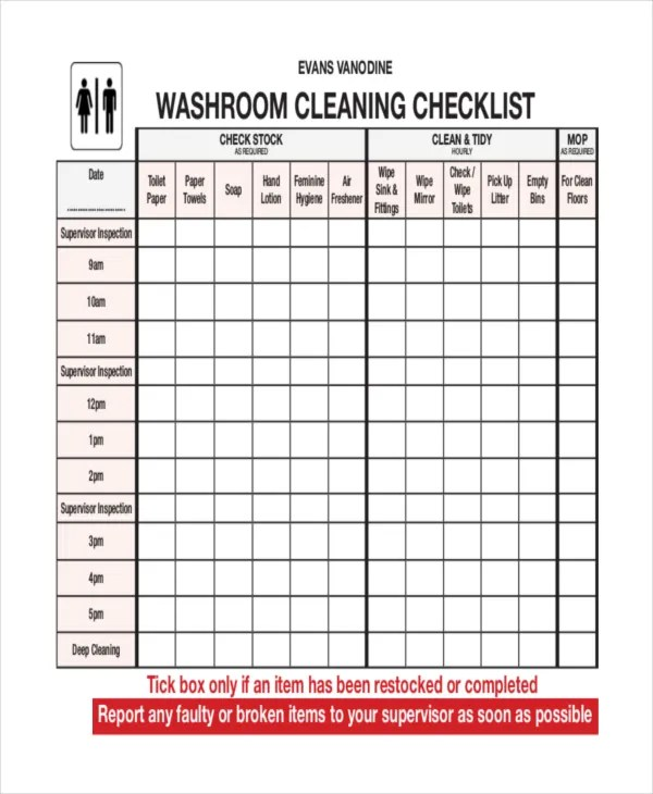 Free Restaurant Cleaning Checklist Template Barca