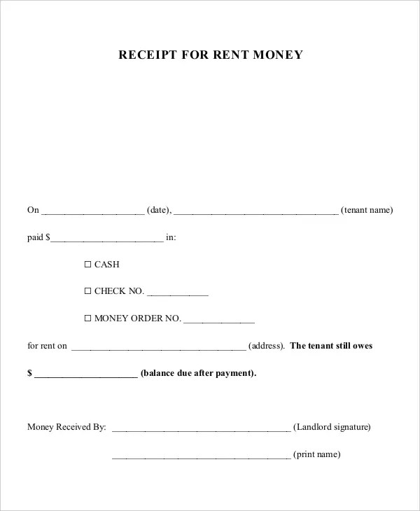 Child Support Receipt Template Free Download