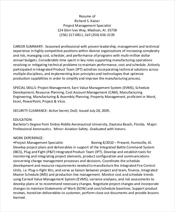 Project managers (pms) need several strong skills to be successful. Project Management Resume Example 10 Free Word Pdf Documents Download Free Premium Templates