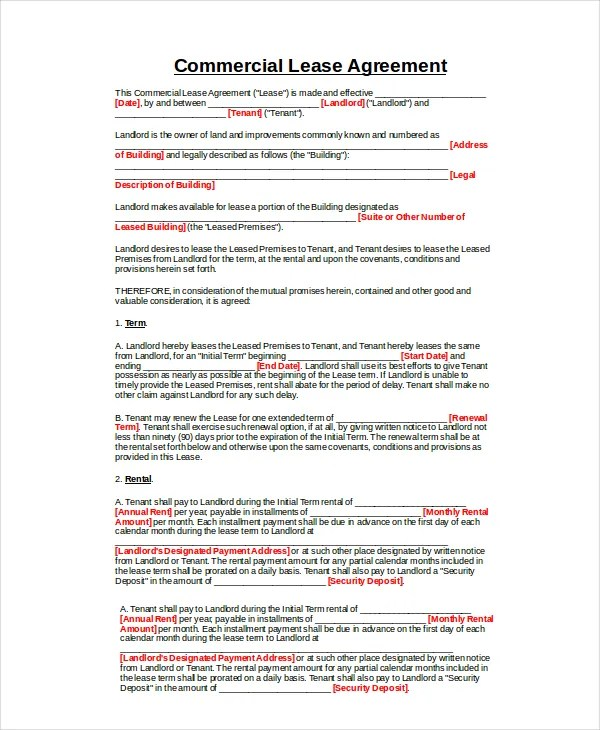 An office lease agreement is a formal contract between a landlord and an occupant who will be renting for purposes other than retail. 14 Commercial Lease Agreements Word Pdf Pages Free Premium Templates