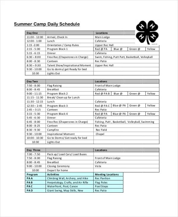 Summer Camp Daily Schedule Ideas Mysummerjpg