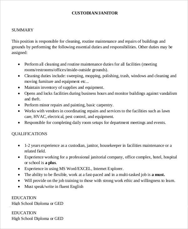 Janitorial Job Description