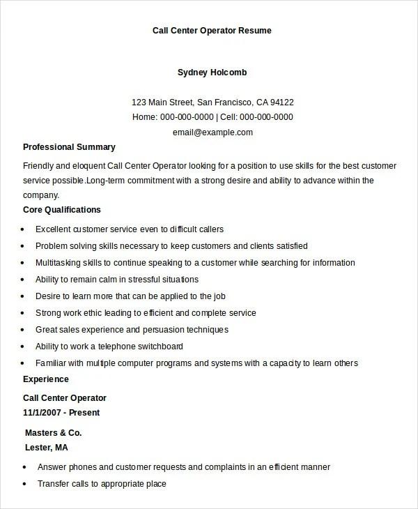 Resume Example For Call Center - Resume Sample