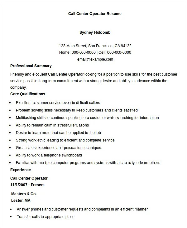 Call Center Resume Example 9 Free Word Pdf Doents  Call Center Resume Examples