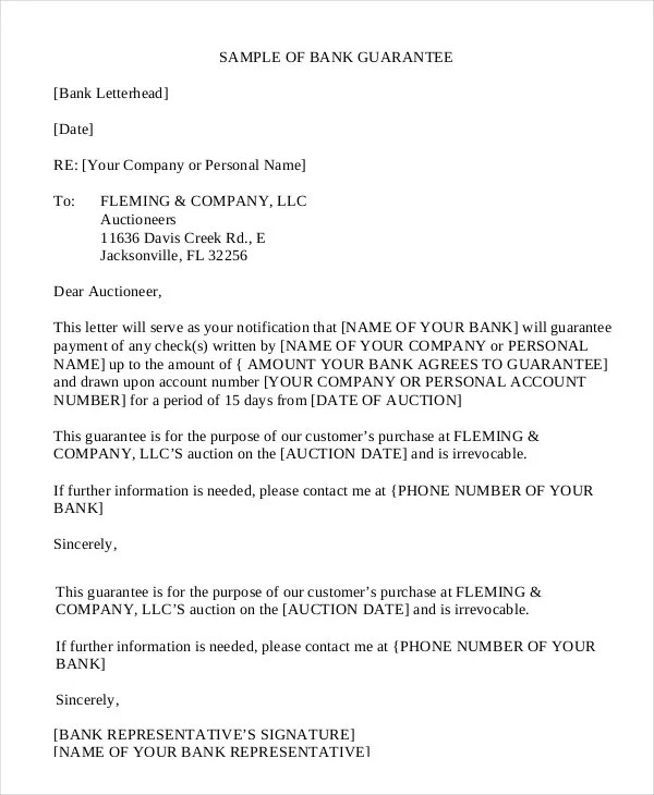 Business Letter Guarantee Payment