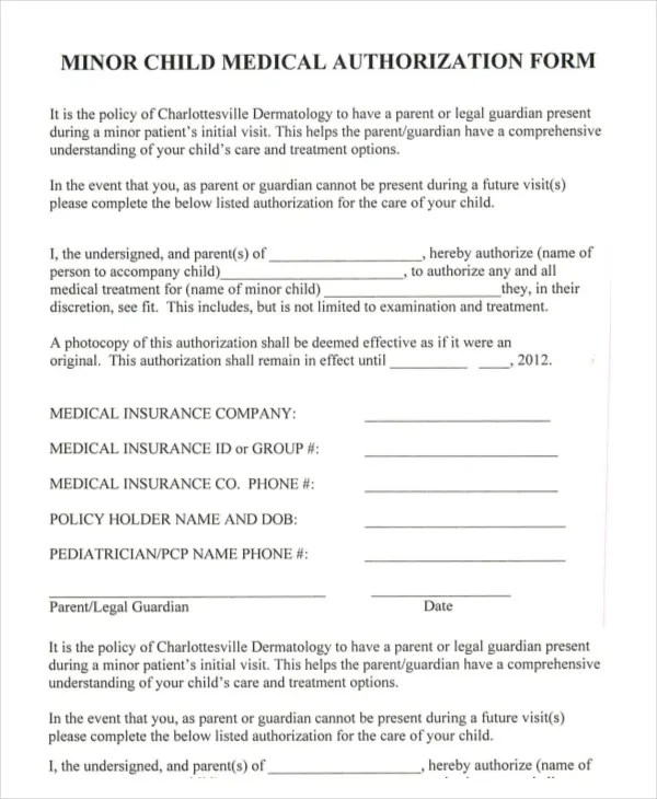medical consent forms templates