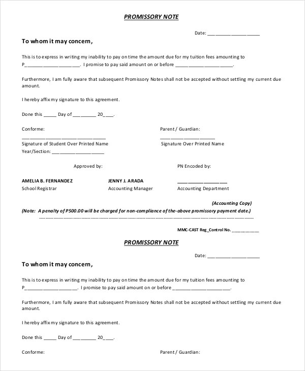 Fill blank promissory notes for Cost plus contract form