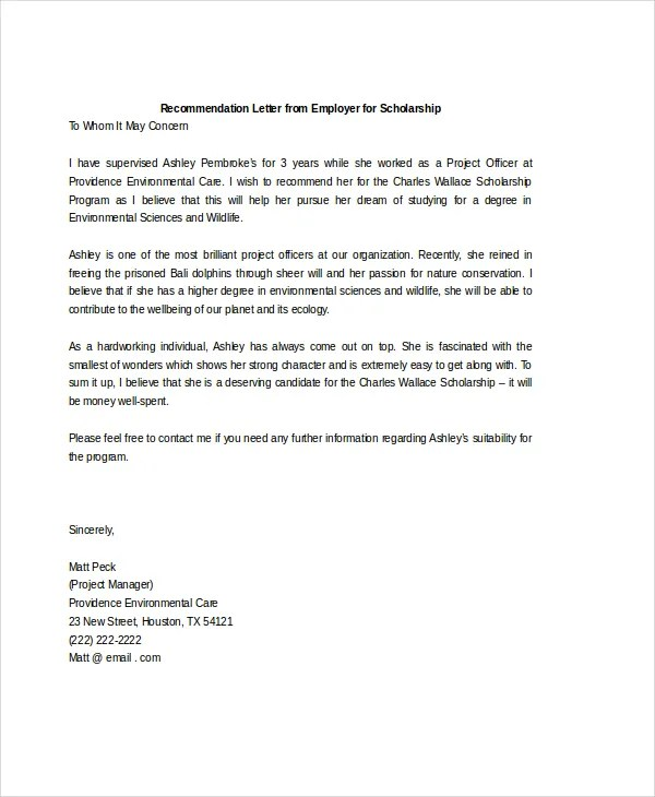 Scholarship Recommendation Letter Sample From A Coach – Scholarship Recommendation Letter Format