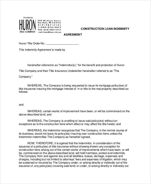 Captivating Loan Agreement Form Word. Letter Of Indemnification Template | Docoments  Ojazlink