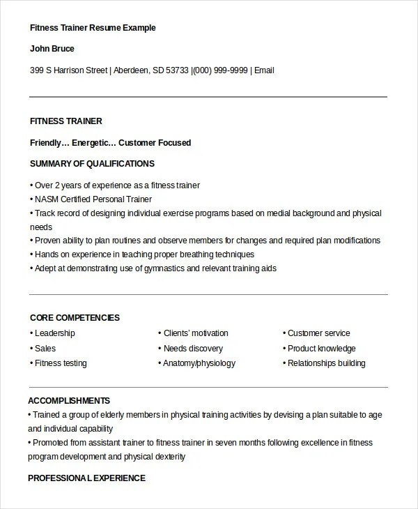 personal trainer resume sample pdf fitness trainer resume resume sample 10764