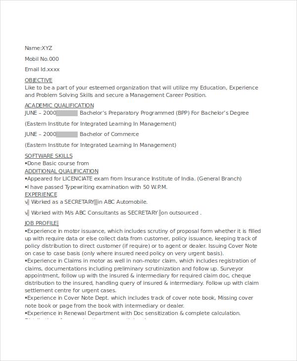 12 Secretary Resume Templates PDF DOC Free Amp Premium Templates