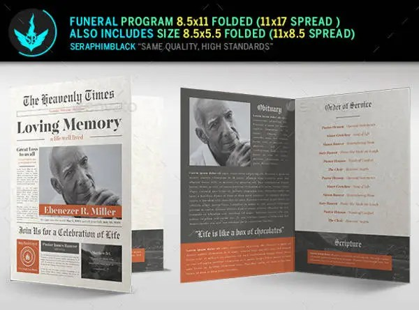 Funeral Program Template 23 Free Word PDF PSD Format Download Free Premium Templates