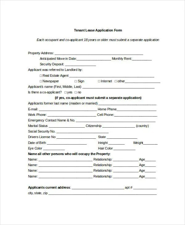 Tenant Application Form 9 Free Word PDF Documents Download Free Amp Premium Templates