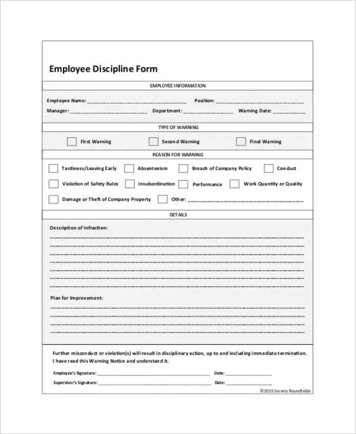 Image result for employee discipline form template word