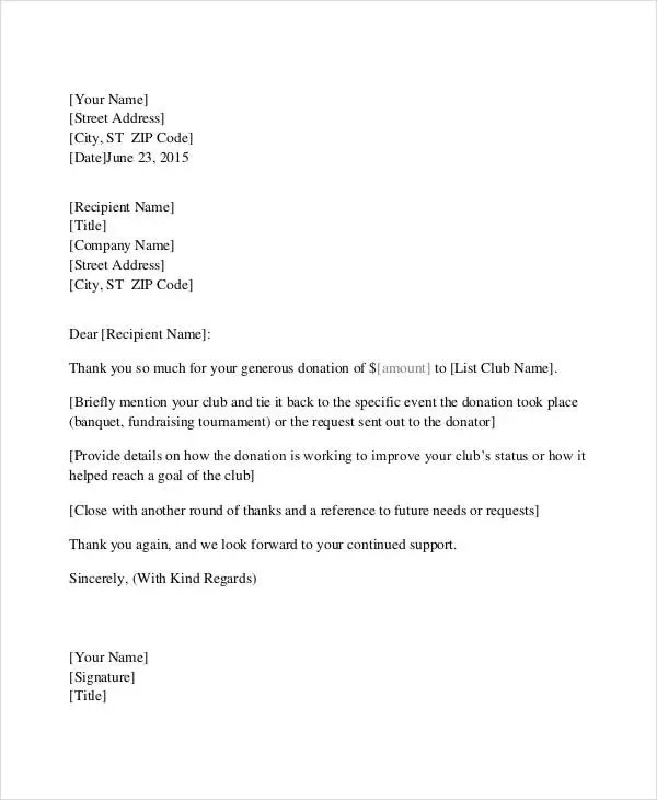 Non Profit Thank You Letter Template | Docoments Ojazlink