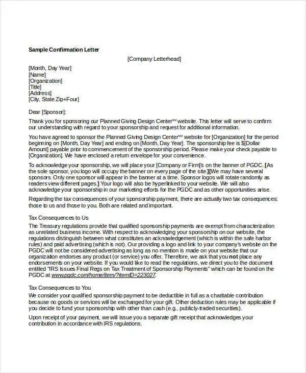 sample letter to confirmation sponsor docoments ojazlink