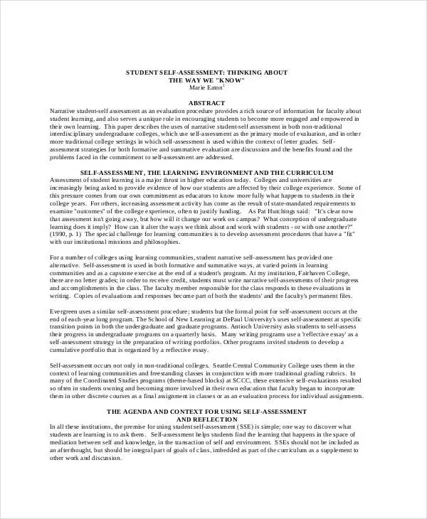 teacher self evaluation essay Read and download this self-assessment rubric and accompanying questions to help you  self-assessment inspires learning by lori  what can my teacher do to.
