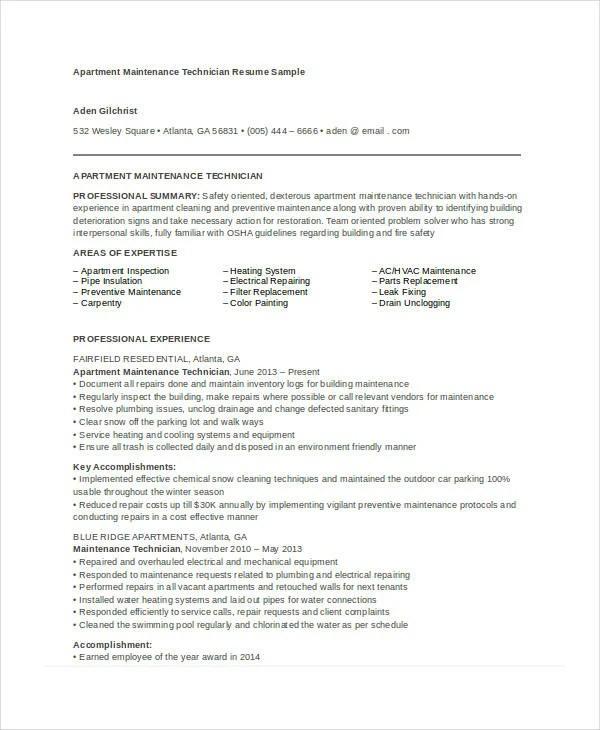 Maintenance Resumes - Resume Sample