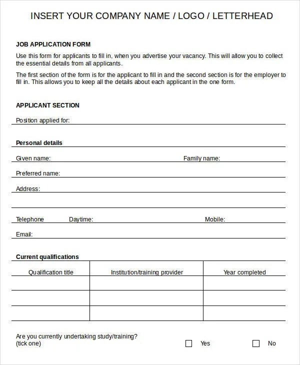 When and why should you use a printable job application form? Blank Job Application 8 Free Word Pdf Documents Download Free Premium Templates