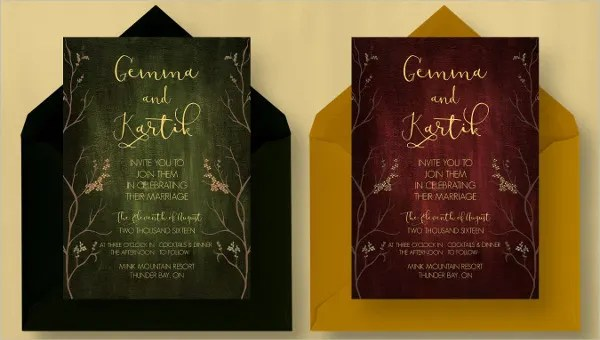 12 Wedding Invitation Cards Psd
