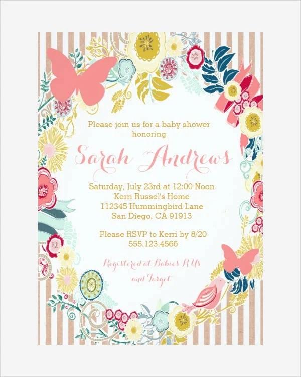 Wording Shower Baby Girl Invitation
