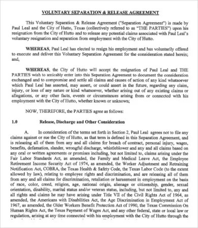 9 Simple Employment Separation Agreement Templates Word PDF Google Docs Apple Pages Free