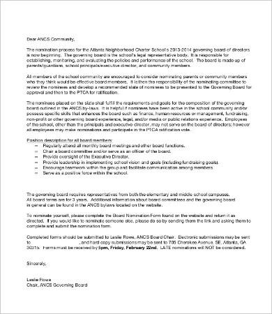 Sample Self Nomination Letter Template Tutore Org