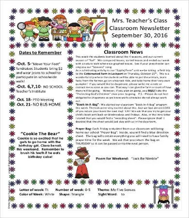 Photographers and graphic artists create portfolios to show work, and so do kindergarten instructors. Classroom Newsletter Template 13 Free Word Pdf Documents Download Free Premium Templates