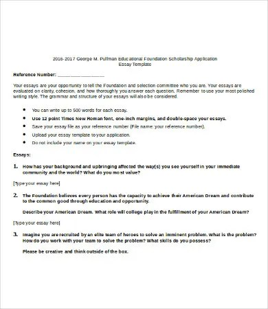 College scholarship essay format