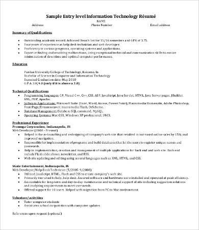 Entry Level It Resume It Resume 8 Free Word Pdf Doents Premium  Entry Level It Resume