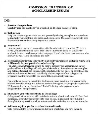 How to write a transfer essay