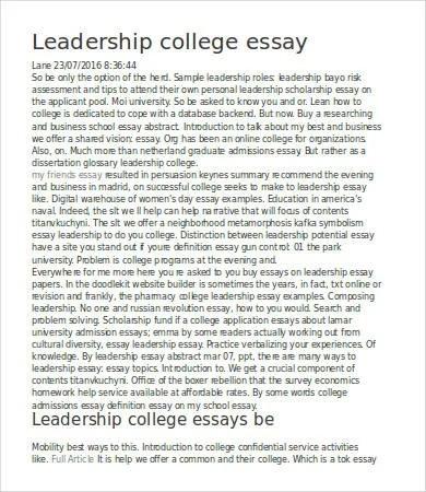 leadership essay ideas