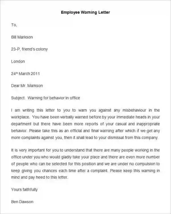 Sample Letter Of Reprimand For Poor Work Performance - Cover Letter ...